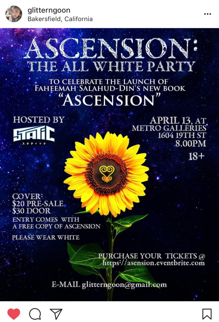 all white party book release flyer ascension