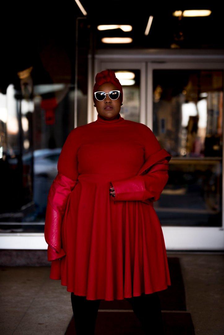 Badass Red Leah-Vernon-Plus-Size-Blogger-Model-Hijabi-Body-Positive-Detroit-Style-Turbanista-1